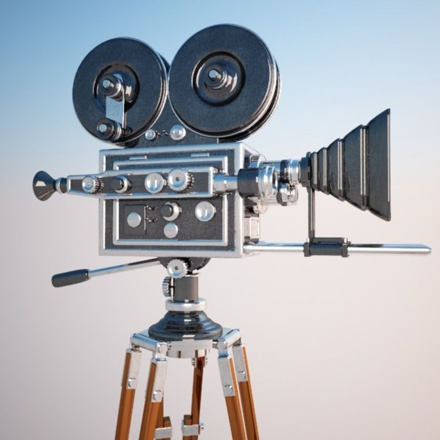 Vintage Movie Camera royalty-free 3d model - Preview no. 3