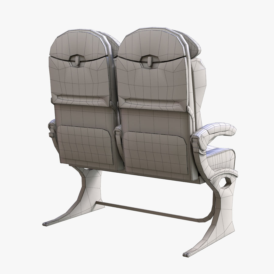 Airplane Seat Business royalty-free 3d model - Preview no. 6