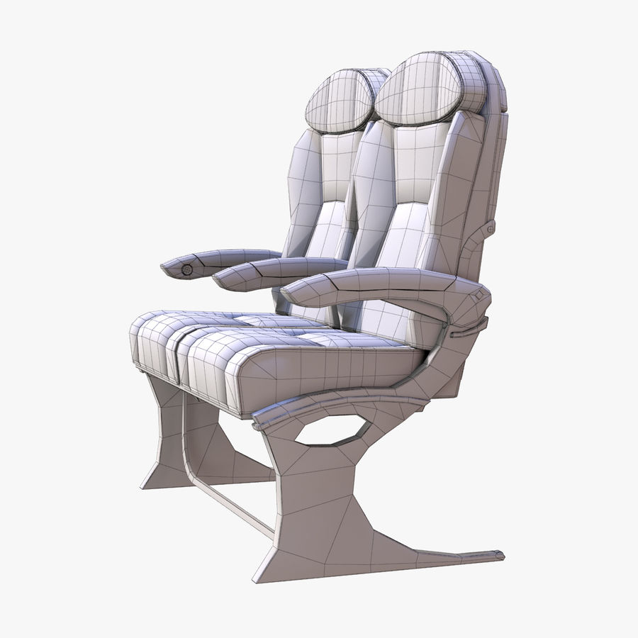 Airplane Seat Business royalty-free 3d model - Preview no. 8