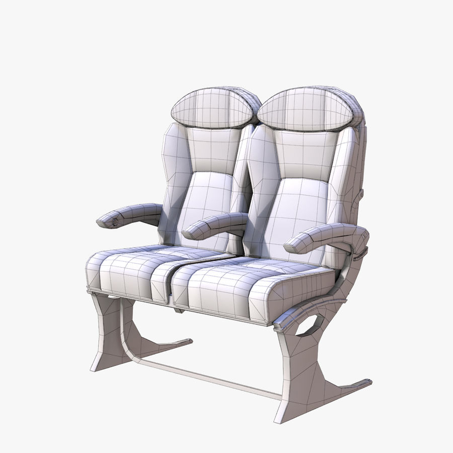 Airplane Seat Business royalty-free 3d model - Preview no. 2