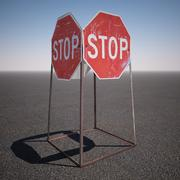 Construction Stop Sign 3d model
