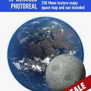 Jorden och månen 3d model