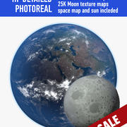 Earth and moon 3d model
