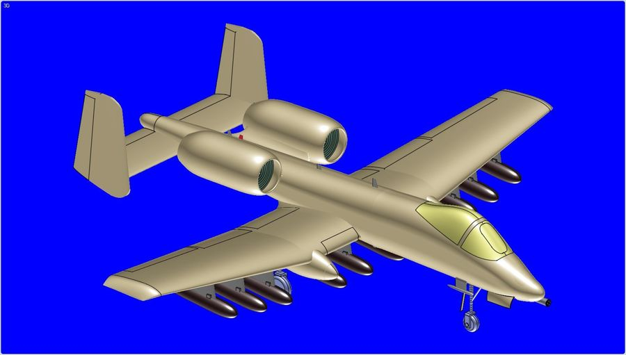 A-10A Warthog Aircraft Solid Assembly Model royalty-free 3d model - Preview no. 2