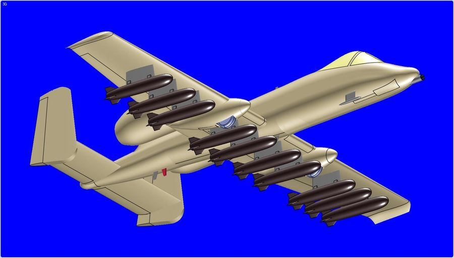 A-10A Warthog Aircraft Solid Assembly Model royalty-free 3d model - Preview no. 9