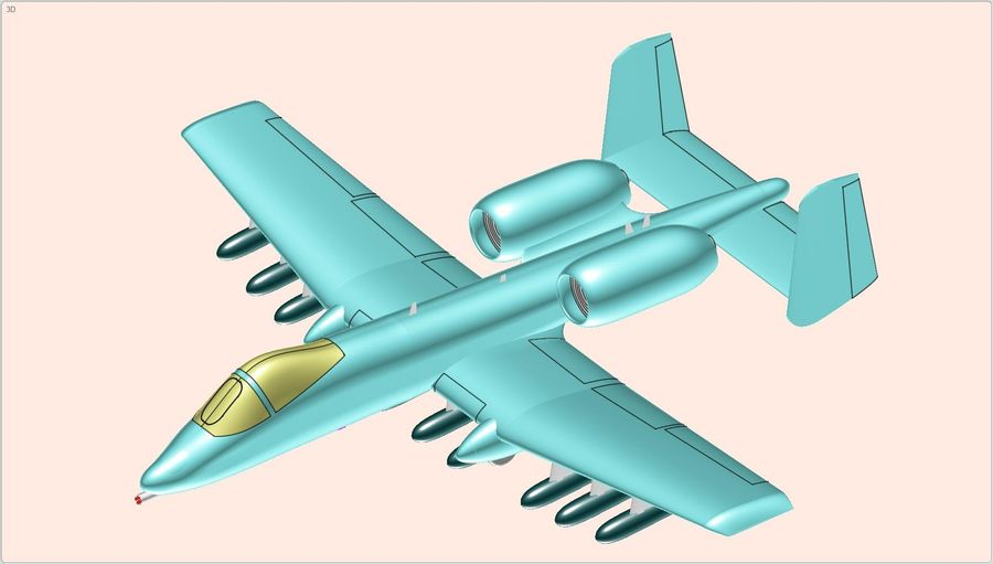 A-10A Warthog Aircraft Solid Assembly Model royalty-free 3d model - Preview no. 20