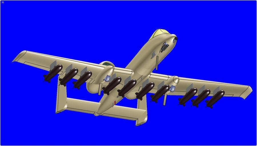 A-10A Warthog Aircraft Solid Assembly Model royalty-free 3d model - Preview no. 7