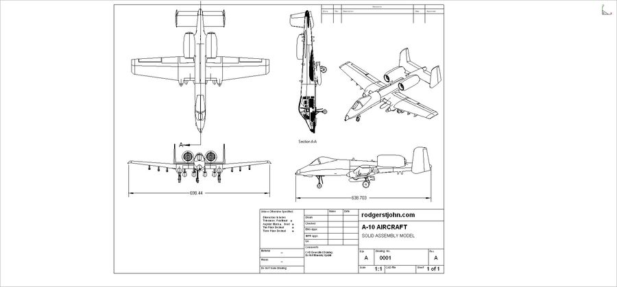A-10A Warthog Aircraft Solid Assembly Model royalty-free 3d model - Preview no. 28
