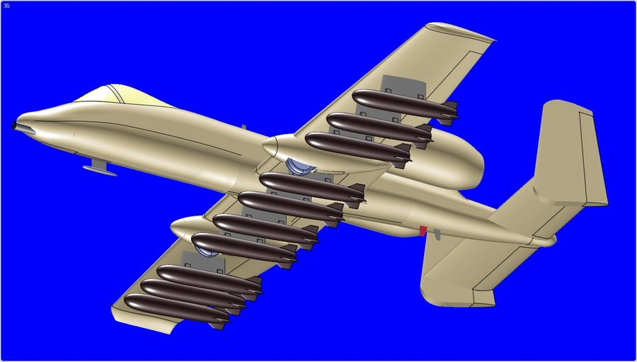A-10A Warthog Aircraft Solid Assembly Model royalty-free 3d model - Preview no. 12