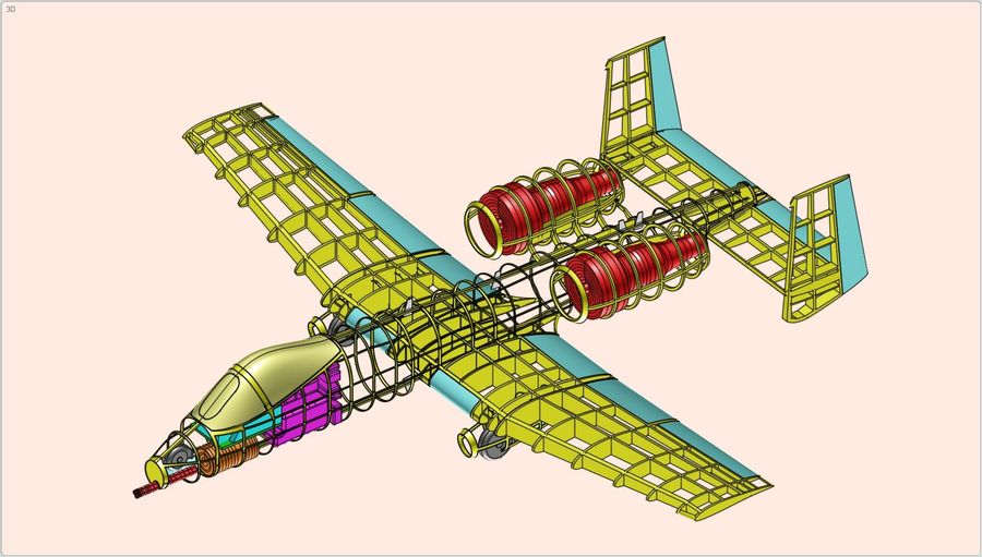 A-10A Warthog Aircraft Solid Assembly Model royalty-free 3d model - Preview no. 17