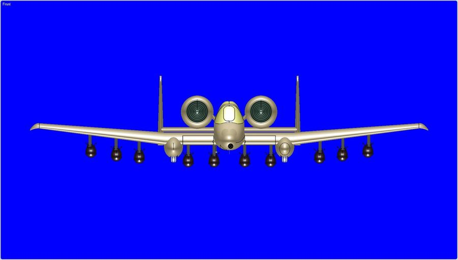 A-10A Warthog Aircraft Solid Assembly Model royalty-free 3d model - Preview no. 11