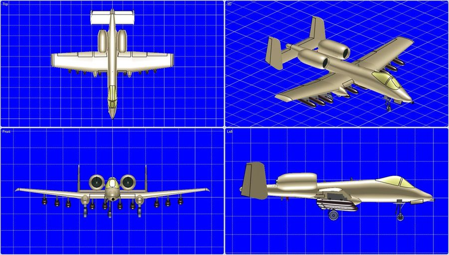 A-10A Warthog Aircraft Solid Assembly Model royalty-free 3d model - Preview no. 1