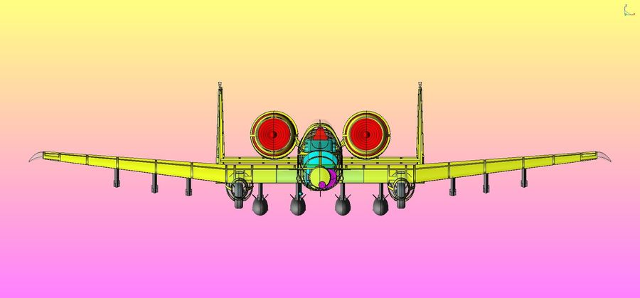 A-10A Warthog Aircraft Solid Assembly Model royalty-free 3d model - Preview no. 25