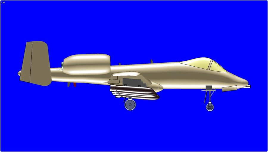 A-10A Warthog Aircraft Solid Assembly Model royalty-free 3d model - Preview no. 4
