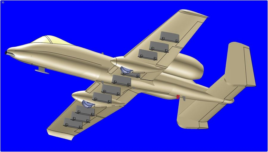 A-10A Warthog Aircraft Solid Assembly Model royalty-free 3d model - Preview no. 13