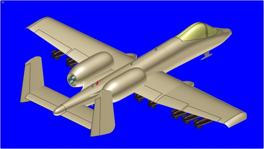 A-10A Warthog Aircraft Solid Assembly Model royalty-free 3d model - Preview no. 10