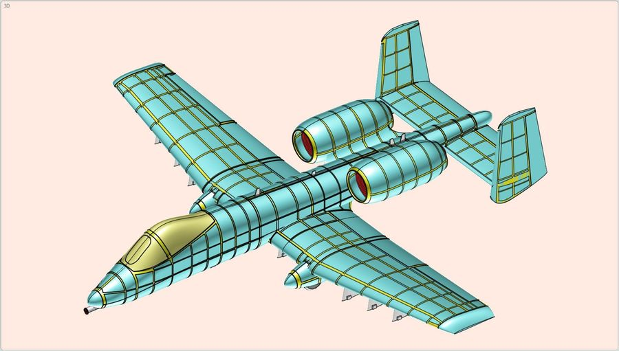 A-10A Warthog Aircraft Solid Assembly Model royalty-free 3d model - Preview no. 18