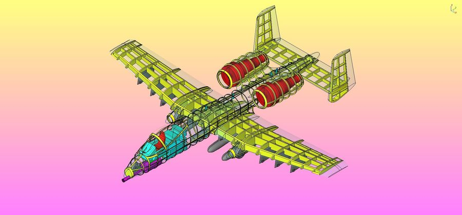 A-10A Warthog Aircraft Solid Assembly Model royalty-free 3d model - Preview no. 22