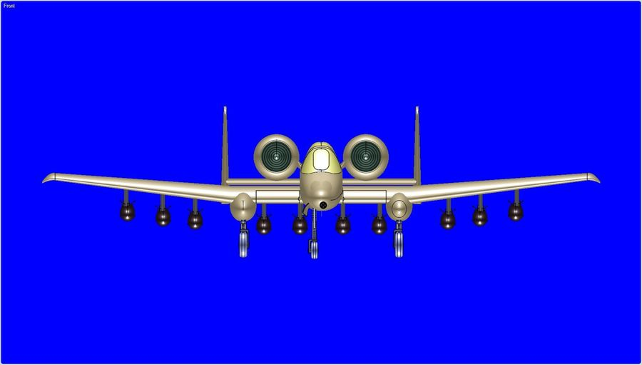 A-10A Warthog Aircraft Solid Assembly Model royalty-free 3d model - Preview no. 3