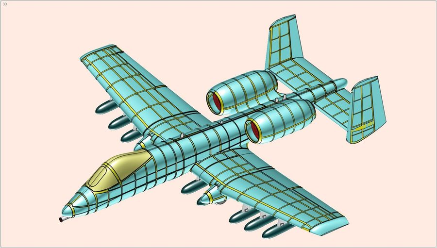 A-10A Warthog Aircraft Solid Assembly Model royalty-free 3d model - Preview no. 19