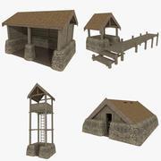 Viking buildings pack textured 3d model