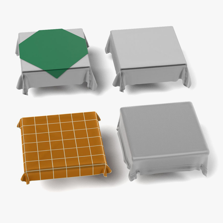 Tableclothes (Square) Set royalty-free 3d model - Preview no. 1
