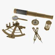 Navigatieset, sextant, kijker vergrootglas, zandloper en kompas 3d model