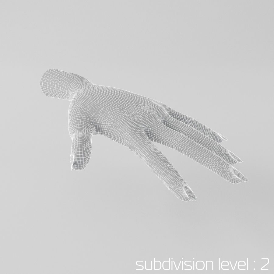 Cartoon Hand royalty-free 3d model - Preview no. 5