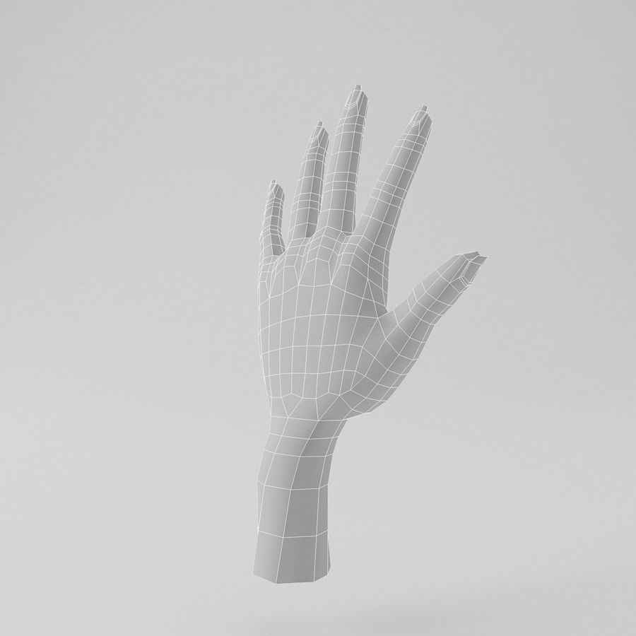 Cartoon Hand royalty-free 3d model - Preview no. 7