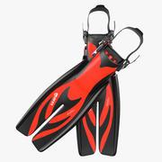 Yüzmek Yüzgeçleri 3 Kırmızı 3D Model 3d model