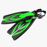 Yüzme Yüzgeçleri 3 Yeşil 3D Model 3d model