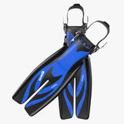 Yüzmek Yüzgeçleri 3 Mavi 3D Model 3d model