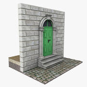 Antigua puerta verde modelo 3d