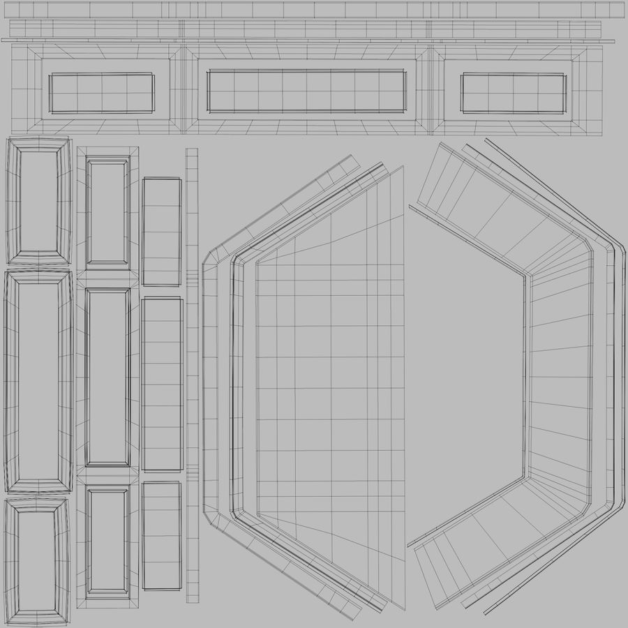 Victorian Bay Window royalty-free 3d model - Preview no. 40