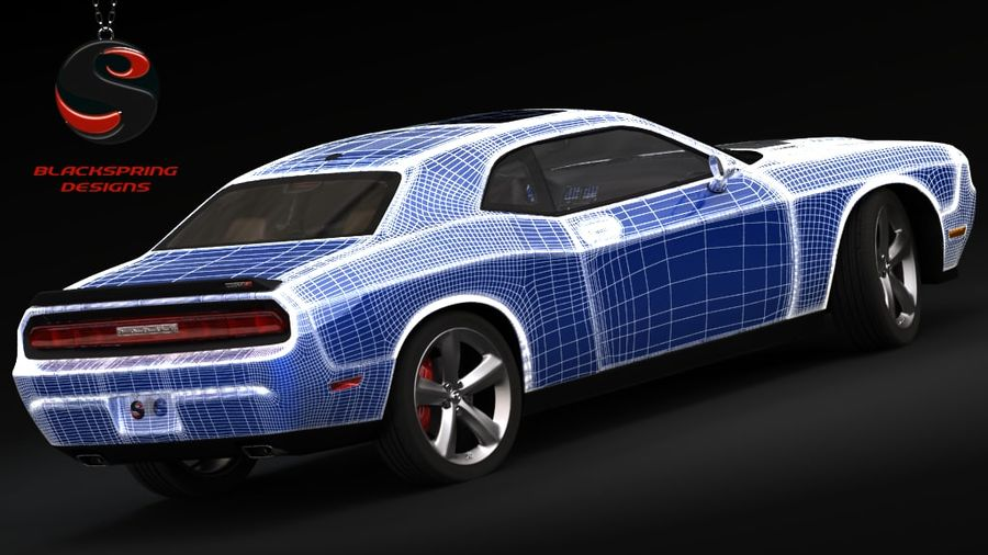 Dodge Challenger SRT8 2009 royalty-free 3d model - Preview no. 7