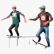 Juego de aparejos de patinador en tiempo real modelo 3d