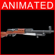 rifles semiautomáticos con animación modelo 3d