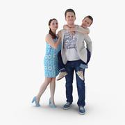 Famille posée 3d model