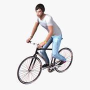 Ciclista en tiempo real aparejado modelo 3d