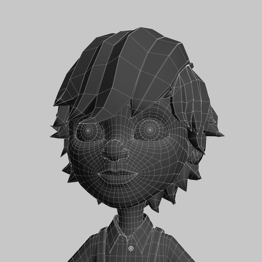 cartoon_boy royalty-free 3d model - Preview no. 9
