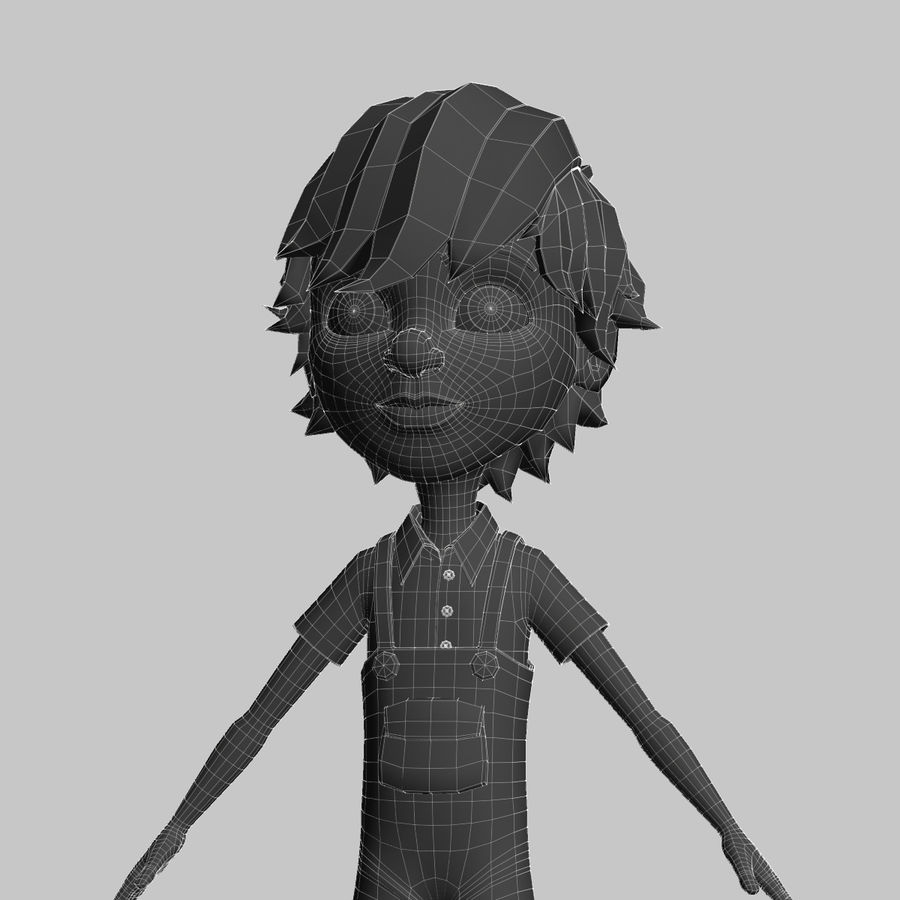 cartoon_boy royalty-free 3d model - Preview no. 8