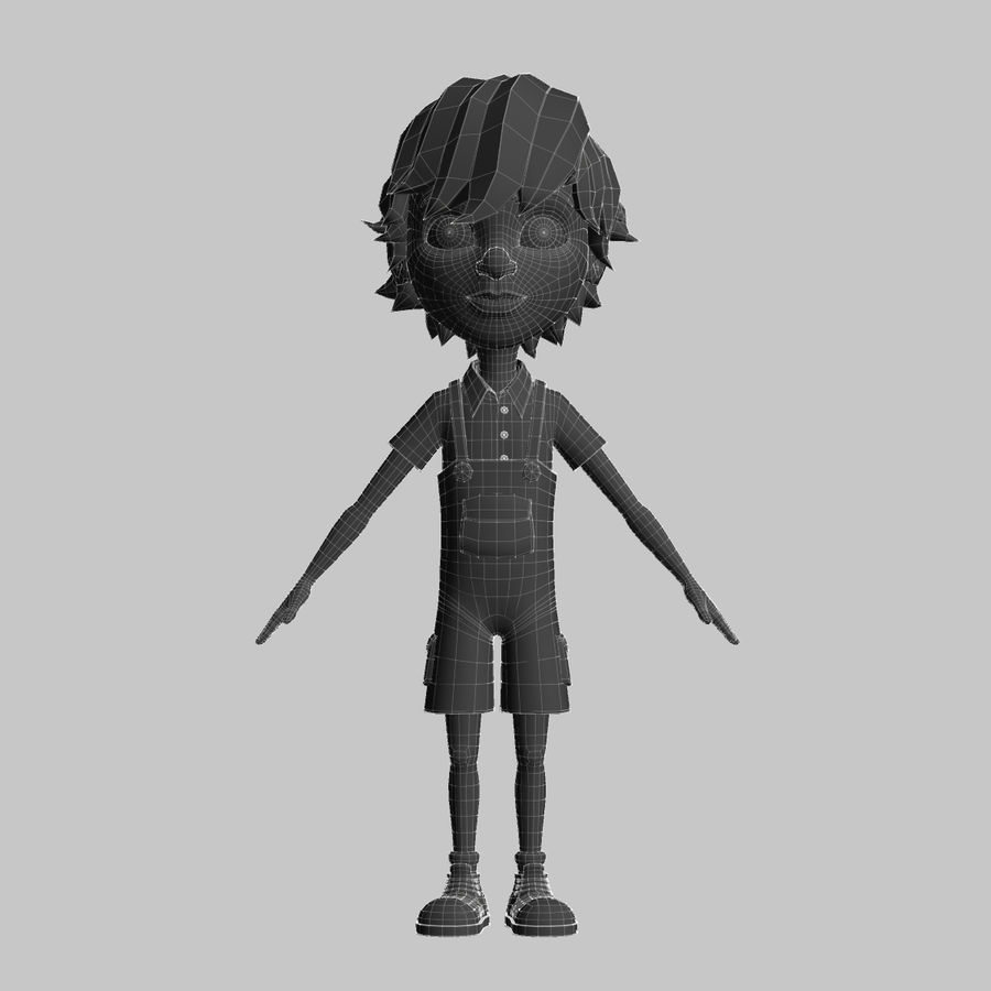 cartoon_boy royalty-free 3d model - Preview no. 7