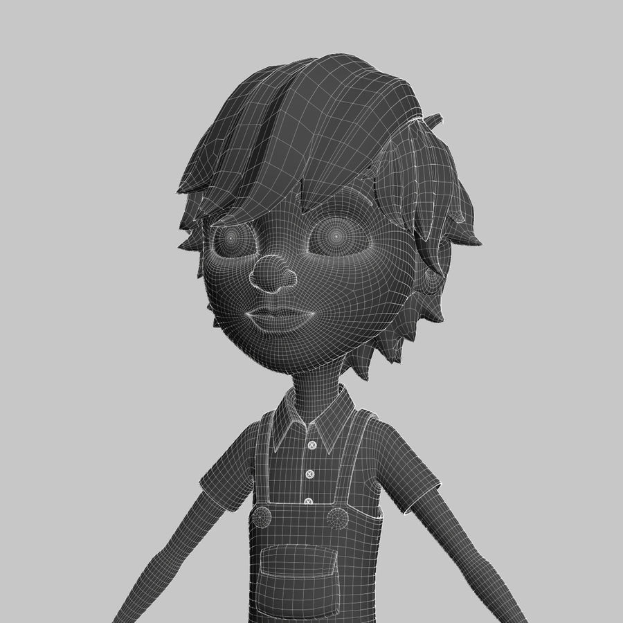cartoon_boy royalty-free 3d model - Preview no. 10