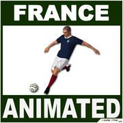 White Soccer Player France CG 3d model