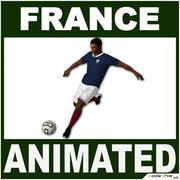 Black Soccer Player France CG 3d model