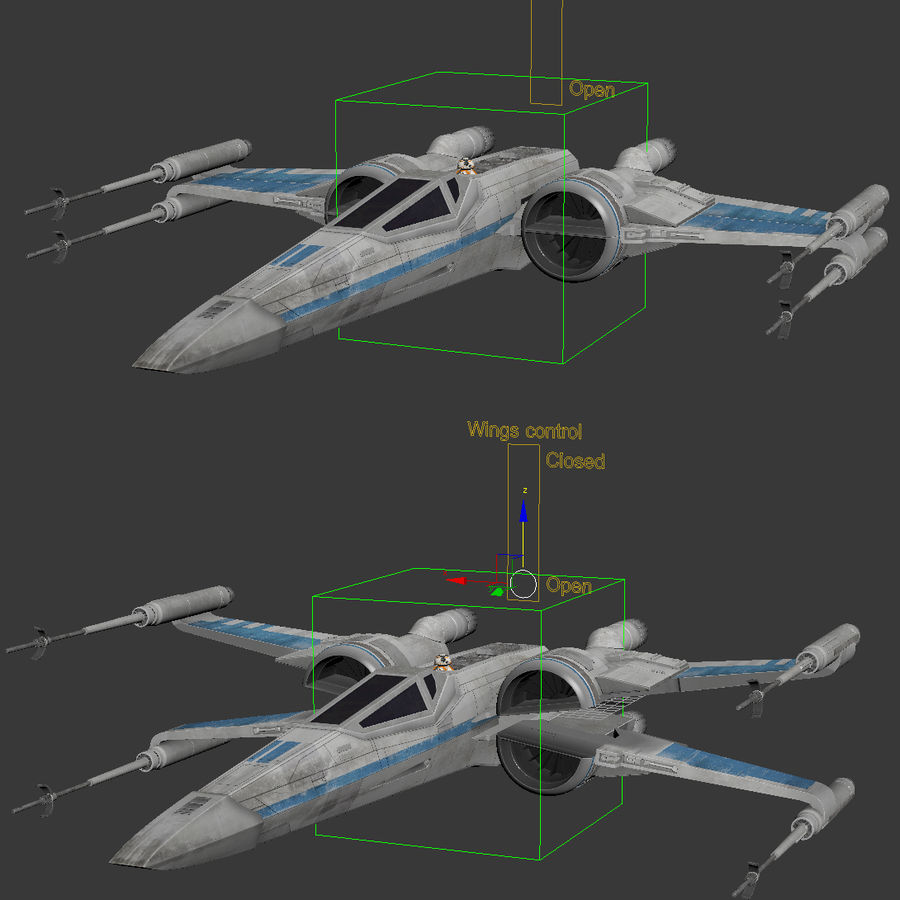 X-wing Fighter Star Wars royalty-free 3d model - Preview no. 16