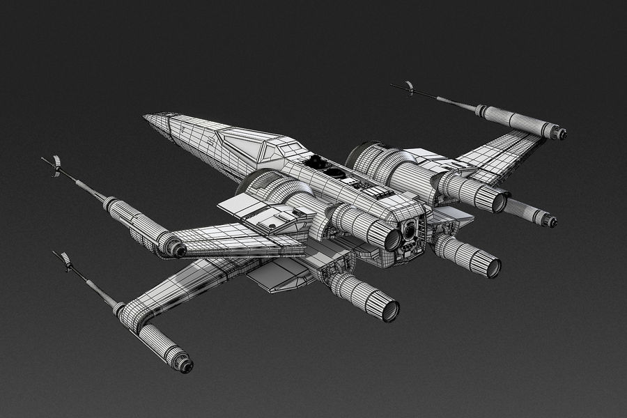 X-wing Fighter Star Wars royalty-free 3d model - Preview no. 15