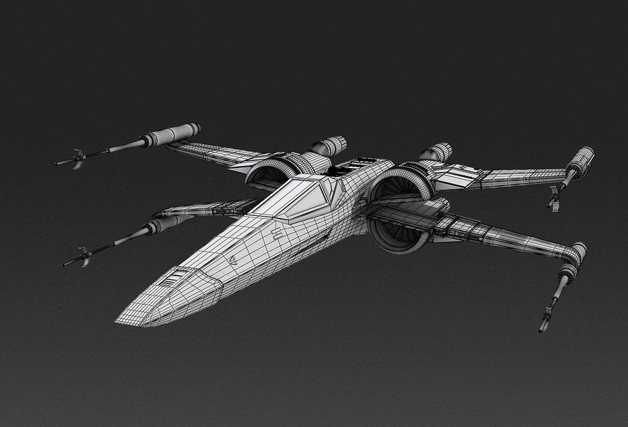 X-wing Fighter Star Wars royalty-free 3d model - Preview no. 14
