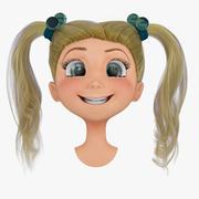 Rigged Cartoon Girl Head B 3d model