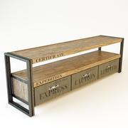 Stolik pod telewizor wykonany z litego drewna tekowego 3d model